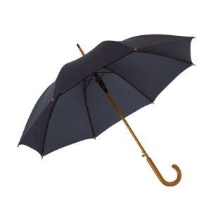 Blå paraply træhåndtag