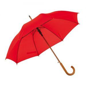 Rød paraply træskaft