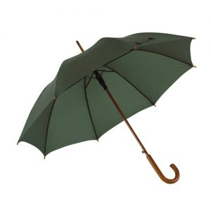grøn paraply træhåndtag