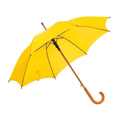 Image of   Gul paraply træhåndtag kun 169 Kr her - Gratis fragt - Buddy