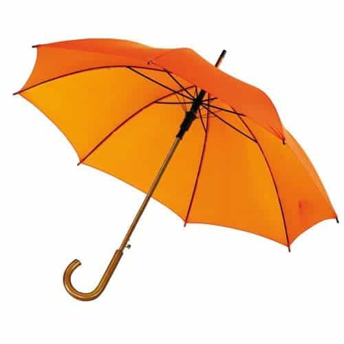 orange paraply træhåndtag