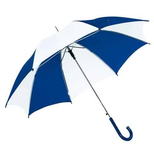 Image of Hvid & blå paraply diameter 103 cm buet håndtag - Disco
