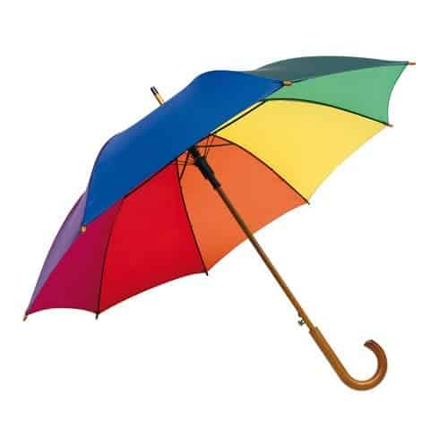 Image of   Automatisk regnbue paraply Multifarvet paraply - Oscar