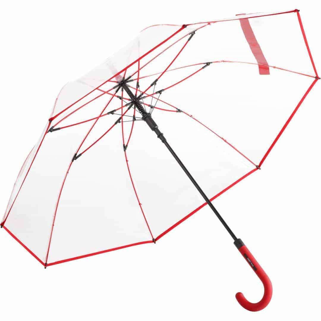 Image of   Gennemsigtig rød paraply stor diameter - Nevada