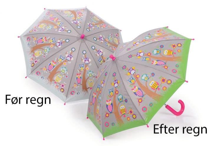 Image of   Børneparaply ugler i træer - Skifter farve ved regn Fun4rain