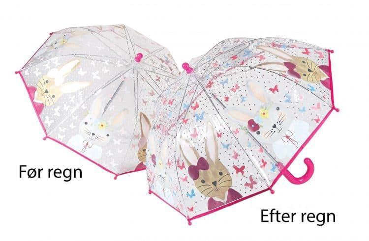 Image of   Gennemsigtig børneparaply skifter farve ved regn