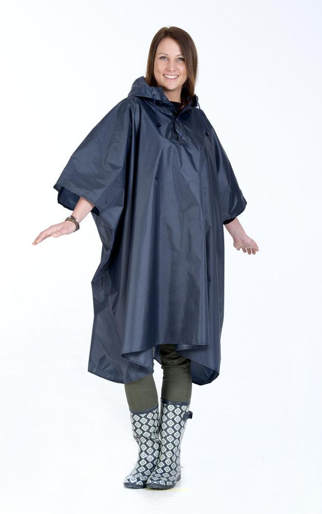 Navy blå poncho regnslag i navy blåt højkvalitets regnslag til voksne