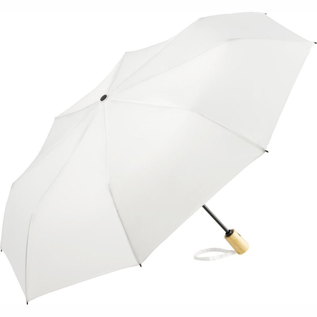 Image of   Hvid øko paraply med bambus håndtag - Earth