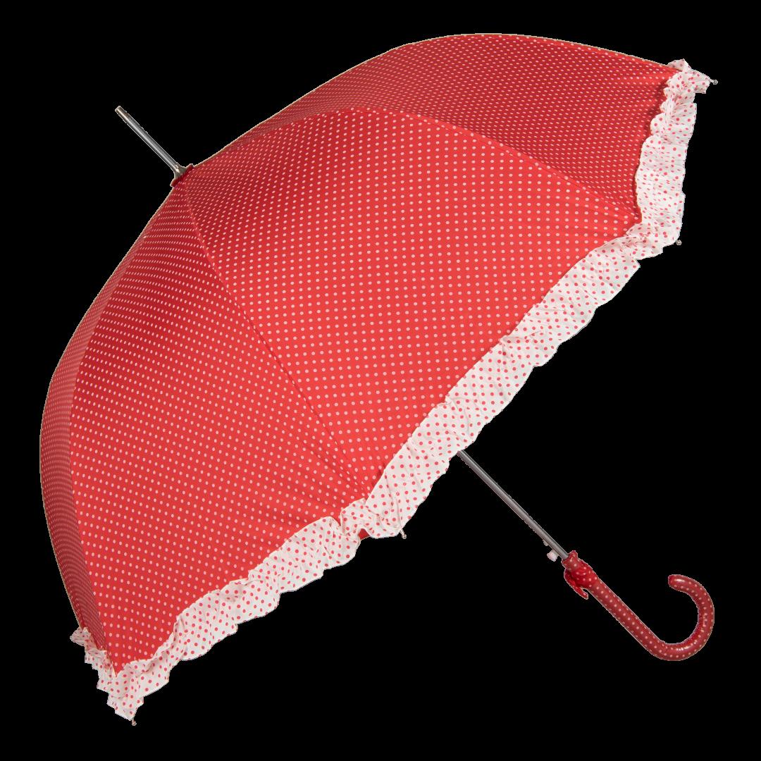 Image of   Retro rød paraply med små prikker elegant - Sascha
