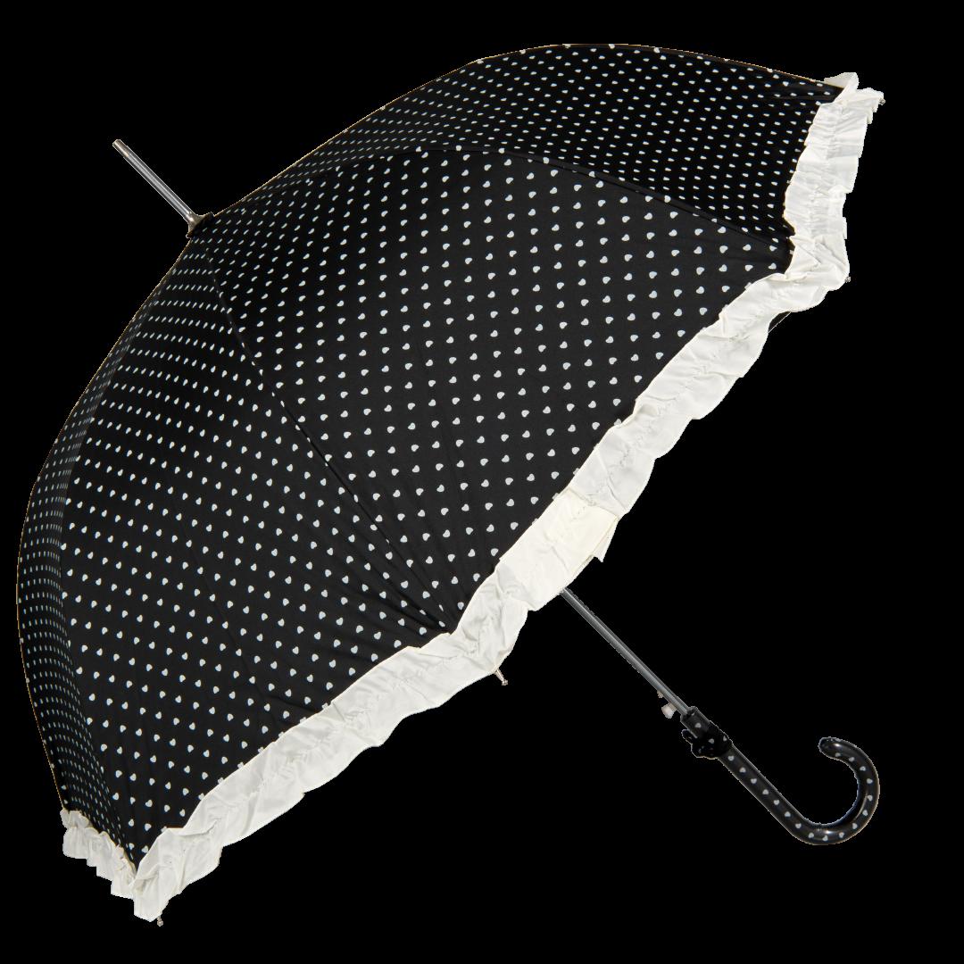 Image of   Sort bryllups paraply med hjerter og bånd - Maude