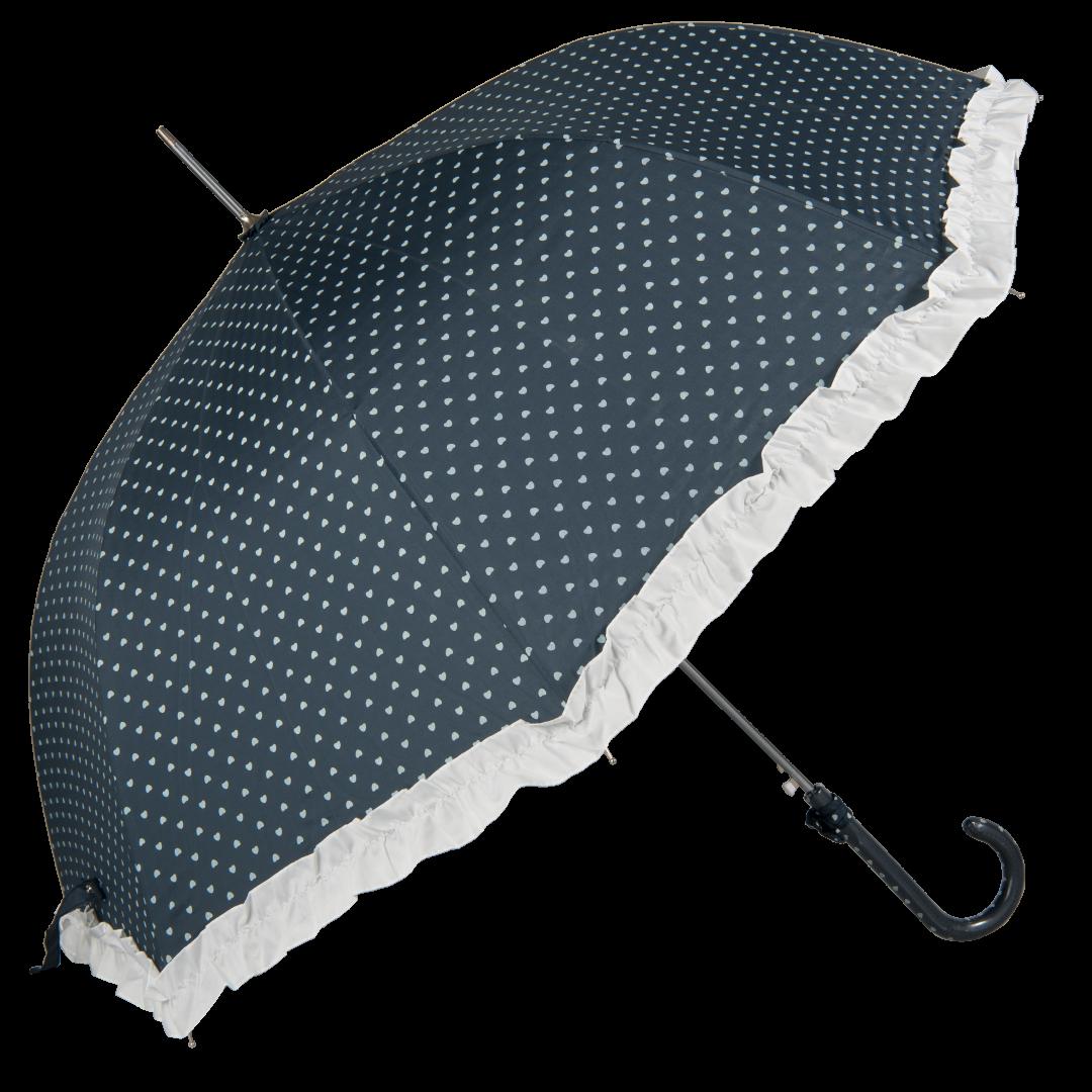 Image of   Blå retro paraply med små hjerter og bånd - Maude
