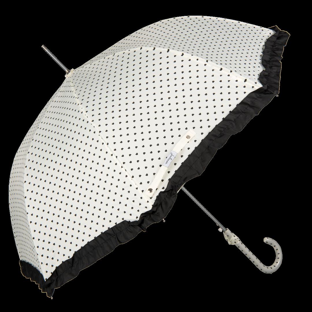 Image of   Hvid bryllups paraply med bånd og hjerter - Maude