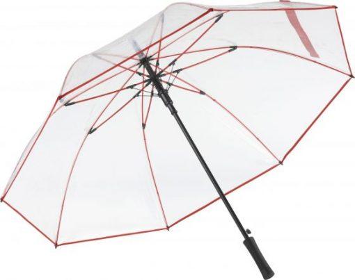Rød transparent paraply
